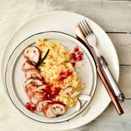 Kokosowo- szafranowe risotto z roladką drobiową w szynce parmeńskiej