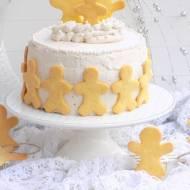 Piernikowo- biszkoptowy tort z kremem i ciasteczkami.
