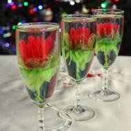 Żelatynowe kwiaty 3D w kieliszkach do szampana