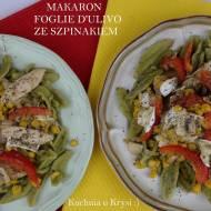 Makaron Foglie d'ulivo  ze szpinakiem, z kurczakiem i serkiem pleśniowym