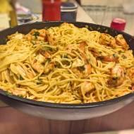 Spaghetti z krewetkami i sosem maślanym