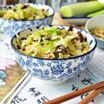 Ryż jaśminowy z grzybami mun, porem i kapustą