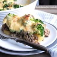 zapiekanka ziemniaczana z mielonym mięsem i brokułami