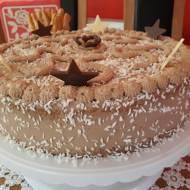 Tort hawajski z czekoladową bitą śmietaną,dżemem wiśniowym i wiórkami kokosowymi