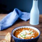 Zupa z pieczonych bakłażanów i papryki