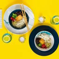 Ramen zesmażonym tofu imakaronem ryżowym