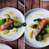 Łosoś z brokułami i sosem pomarańczowym