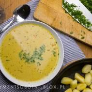 zupa z czerwonej soczewicy z mleczkiem kokosowym i smażonymi kopytkami