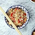 Orientalny kurczak z sezamem i makaronem sojowym