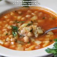 Zupa pomidorowa z cieciorką, soczewicą i ziemniakami