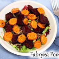 Sałatka z komosą ryżową i pieczonymi warzywami (burakiem i marchewką)