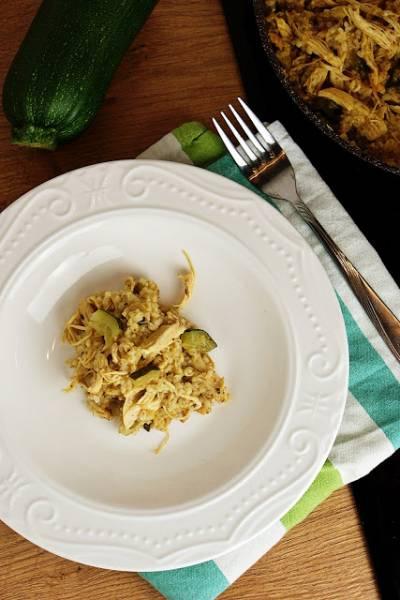 Kaszotto z kurczakiem i cukinią (z rosołu)