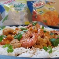 Dyniowo – kalafiorowe curry z łososiem i krewetkami
