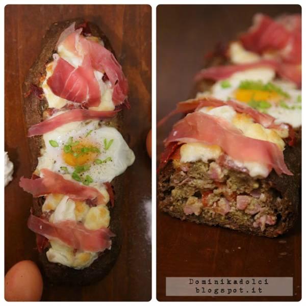 Śniadaniowa zapiekanka w chlebie. / Breakfast bread casserole.