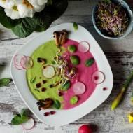 """Wiosenna dwukolorowa zupa krem z warzywami Hortex i buraczkowym """"kawiorem"""""""