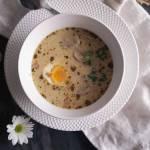 Żurek z białą kiełbasą i grzybami / Sour rye soup with sausage and mushrooms