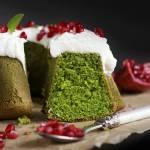 Zielona babka z waniliowym kremem