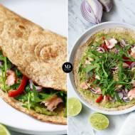 Tortilla z łososiem, awokado i czerwoną papryką