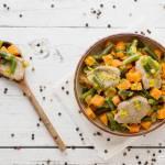 Polędwiczka wieprzowa z batatami i zieloną fasolką szparagową