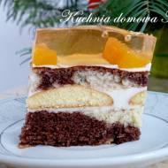 Ciasto łaciate z masą serową i galaretką