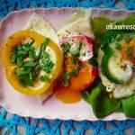 Jajka sadzone w papryce na śniadanie