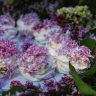 Bezowe gniazdka z bitą śmietaną i kwiatami lilaka