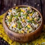 Ryż z mięsem mielonym, kukurydzą i zieloną fasolką szparagową