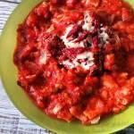 Zupa krem z pomidorów ze spaghetti naleśnikowym
