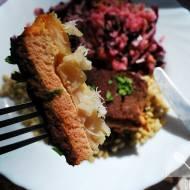 Pieczony łosoś, dorsz i buraki, czyli trzywarstwowa rybna zapiekanka
