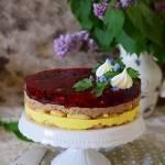 Ciasto budyniowe z owocami i galaretką (bez pieczenia)