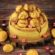 Karpatka z piramidą ptysiową i kremem mlecznym z mango (bez glutenu, cukru białego, laktozy)