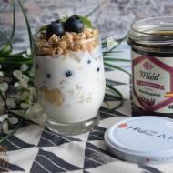 Prażone płatki owsiane z miodem, jogurtem naturalnym i owocami - czyli zdrowe śniadanie