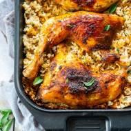 Kurczak z ryżem zdrowe danie w mniej niż 10 minut.