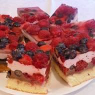 Ciasto owocowe z galaretką i kremem czekoladowym