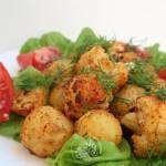 Pieczone młode ziemniaki z kalafiorem