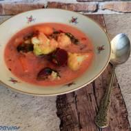 Wiosenna zupa kalafiorowo - botwinkowa z bulgurem