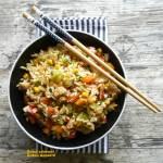 Kurczak z woka z ryżem i warzywami