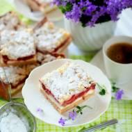 Ciasto z twarogiem, rabarbarem i owocami