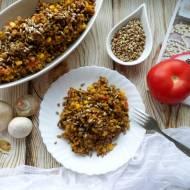 Kaszotto z kaszy gryczanej z pieczarkami i pomidorami – przepis krok po kroku