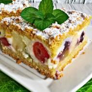 Ciasto z budyniem i owocami