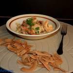Krewetki w sosie śmietanowo - kurkowym z makaronem