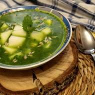 Zupa szpinakowa z młodą kalarepką i pestkami słonecznika