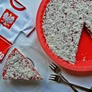 Biało-czerwony sernik na zimno w dwóch smakach - truskawkowym i kokosowym