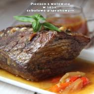Pieczeń z wołowiny w sosie cebulowo-paprykowym