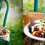 Toskańska sałatka Panzanella- z mozzarellą, pomidorami i czereśniami