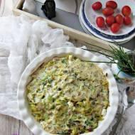 Zapiekanka makaronowa z brokułem, boczkiem i groszkiem