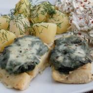 Ryba zapiekana pod pierzynką ze szpinaku i mozzarelli