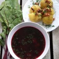 Barszcz czerwony z ziemniakami i skwarkami