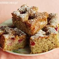 Ciasto orzechowe z malinami