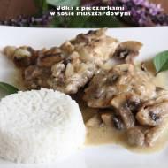 Udka z kurczaka z pieczarkami w sosie musztardowym